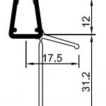 #1003 Wasserablaufprofil mit verlängertem Dichtkeder, für 6+8mm Glas, 1 Meter