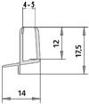 #1269 waagrechtes Wasserablaufprofil passend für 4-5mm Glasstärke, transparent, Länge 1 Meter