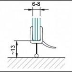 #1205 Abtropfprofil mit Dichtkeder für 6+8 mm Glas für Fünfeckgläser 130° gebogen, Länge ca. 70cm