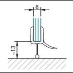 #1258 Dichtleiste für 6-8mm Glastärke, fuer gebogene Türen